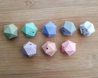 Set of 5 Icosahedron Hexagon Silicone Beads - Choose A Color