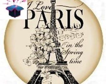 1 cabochon clear 18 mm Paris theme