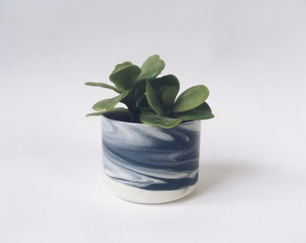 "PLANTER 3"" Blue Marbled. Ceramic flower pot/planter."
