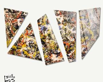 Plexiglass square Prints on acrylic glass-5 shaped panels-Jackson Pollock-convergences-Yellow BUS