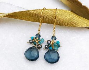Iolite Earring, Small Drop Earring, Gift, Gemstone Earring, Small Gemstone Cluster Earrings, Gold Dangle Earring. Dainty Earring