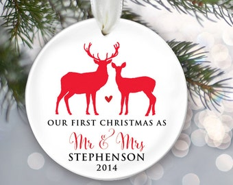 Our First Christmas as Mr & Mrs Personalized Deer Christmas Ornament Christmas Gift Newlywed Ornament Holiday Ornament Design your own OR182