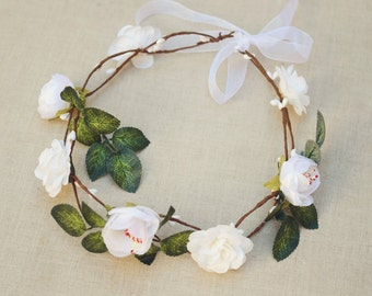 THE SYLA White Wedding Crown Bridesmaid Bridal Prom Hippie Gypsy  Style Hair Woodland Crown Head Band Crown  Spring Christmas Crown
