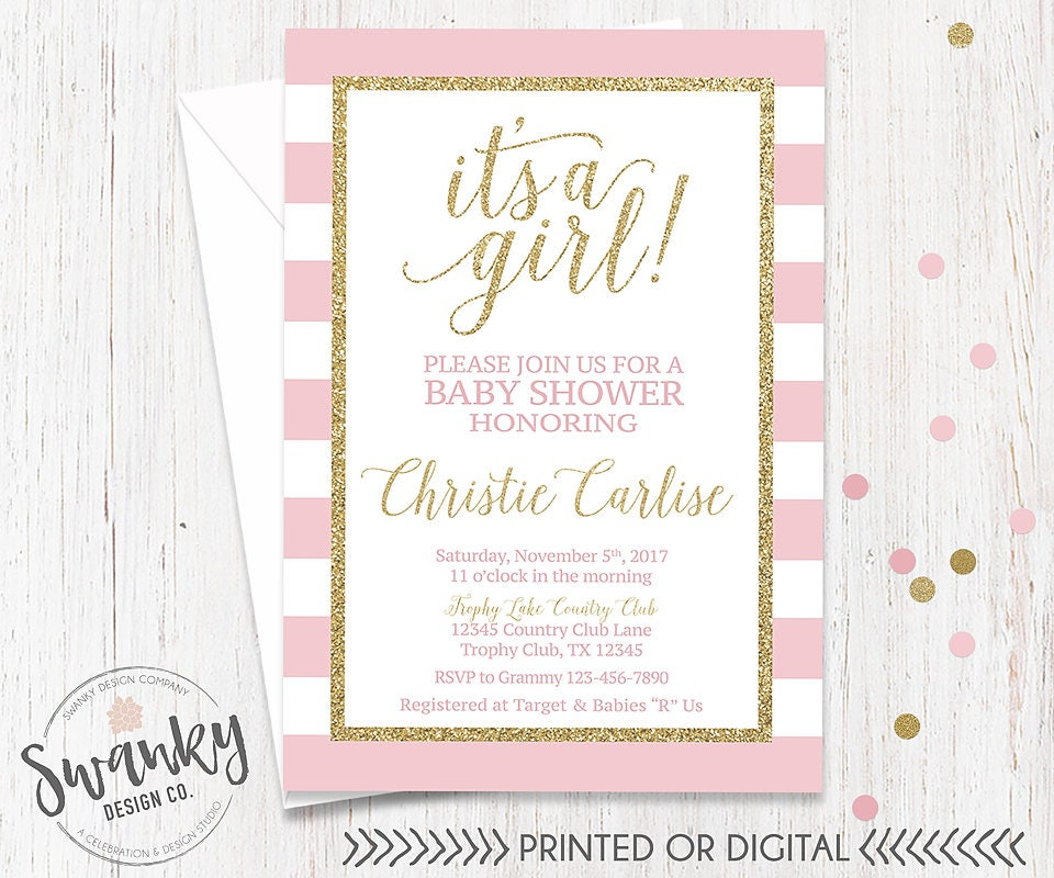 Blush Pink and Gold Baby Shower Invitations Girl Baby Shower