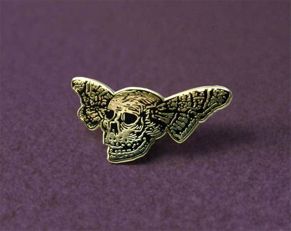 Lapel pin: Butterfly Skull