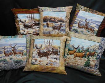 "Set of 6 square cushion covers, ""deer and DOE"" collection"