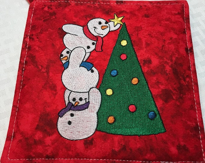 Embroidered Christmas Pot Holders