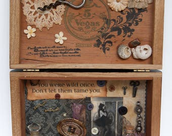 Cigar Box Assemblage - Assemblage Art - Mixed Media Assemblage - Wild