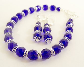 Cobalt Blue Bracelet and Earrings Set, Dark Blue Jewelry, Mothers Day, Easter, Passover, Blue Jewelry