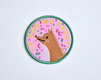 Iron on patch // In Dog We Trust // Funny cute dog love patch for jacket // Dog Lover //
