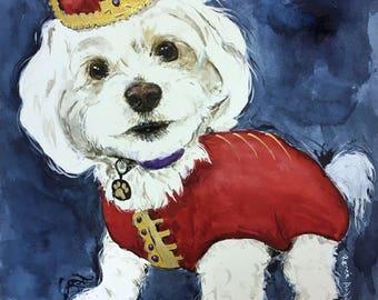 Custom Animal Cat Dog Pet Portrait Watercolor Painting