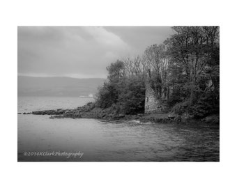 Ruin Fine Art Photography Black and white Scottish landscape abandoned castle Romantic Dreamy Outlander inspired Isle of Bute seaside stone