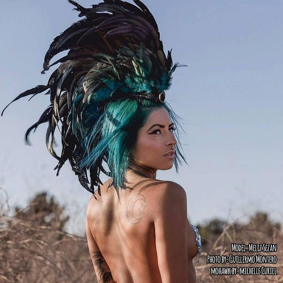 Stellar Jay - Customizable Feather Mohawk / Headdress