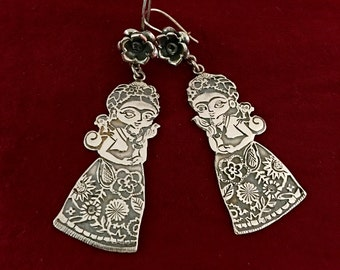 Handmade sterling silver baby Frida  statement dangle earrings