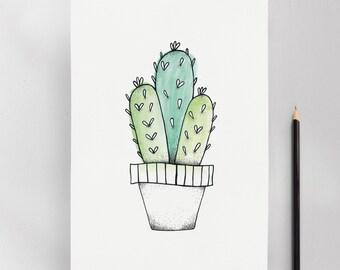 Klapperi Cactus Illustration Art Print
