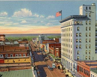Albuquerque New Mexico Central Avenue Looking West Vintage Postcard 1940s (unused)