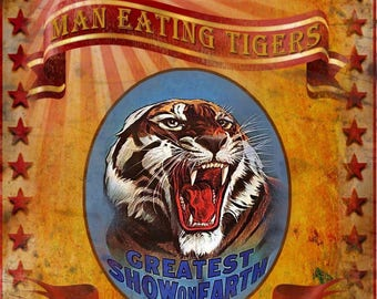 Cassidy's Family Circus Show Man Eating Tiger Vintage Retro Metal Sign Home Decor Mancave Choose Your Own Size
