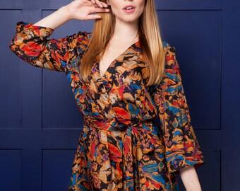 Pure Silk Robe / 100% Silk Kimono/ Silk 80s inspired Kimono/ Genuine Silk Robe/ Silk Brides Robe / Black, Gold, Blue, Red Silk Robe