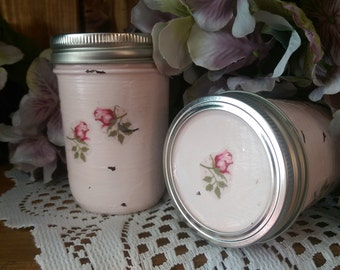 Shabby Chic Painted Mason Jar Vase Decoupage Roses Rosebuds Wedding Bridal Shower Centerpiece Home Dorm Office Vanity Bathroom Boudoir Decor
