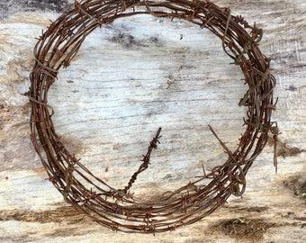 Vintage Rustic Western Decor Barbed Wire Wreath DIY Barb Wire Art ...