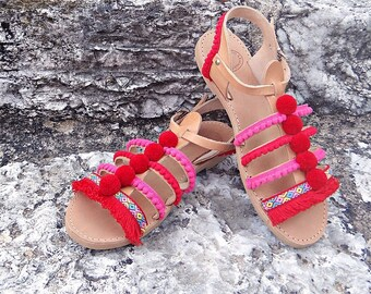 "Pom Pom ""Strawberry"" Boho Sandals / Lace Stripe Sandals/ Genuine Greek Natural Leather / Rubber Sole / One ankle Strap Gladiator Sandals"