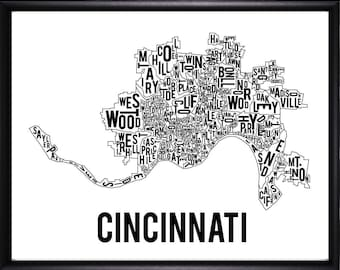 Cincinnati Ohio Neighborhood Typography Map-FREE SHIPPING