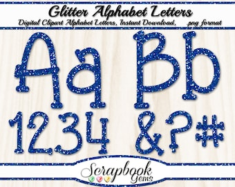 Blue Glitter Letters & Numbers Digital Clipart, 76 High Quality PNG files, Instant Download