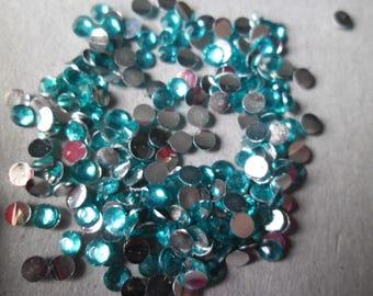 x 100 Lake Blue Crystal rhinestone facet sticking 3 mm