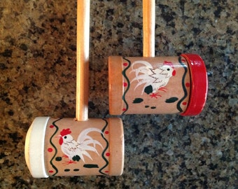 Vintage Rooster Salt and Pepper Shakers, Long Handled BBQ Salt & Pepper Shakers, Woodpecker Wood Ware Japan
