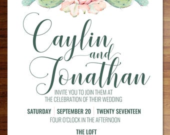 Cactus succulent wedding invitations- birthday, shower, party; Custom digital or printed invitation + FREE SHIPPING!