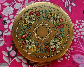 Vintage Kigu/ Mascot/ Boots! (Unmarked) Flowers Design Gold Tone Powder Compact 1970s