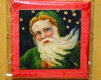 Santa Claus Mini Canvas Magnet - Two Inch