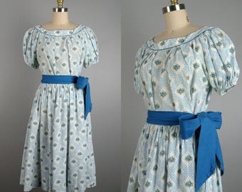 Vintage 1950s Cotton Dress 50s Cotton 2 Piece Peasant Dress Set Size M