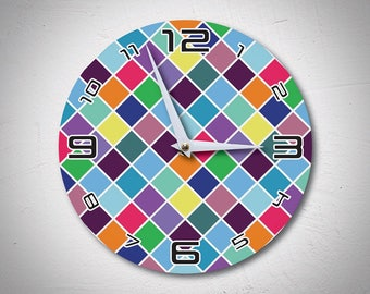 Mosaic Wall Clock, Kitchen Clock, Colourful Wall Clock, Tiles Clock, Wall Clock, Wooden Clock, Geometric Clock, Geometrical, MadMadeWorld