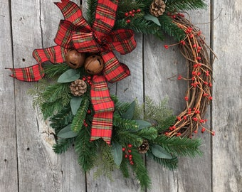 Christmas Wreath for Front Door, Holiday Wreath, Christmas Door Wreath, Artificial Wreath, Christmas Grapevine Wreath, Tartan Wreath, Rustic