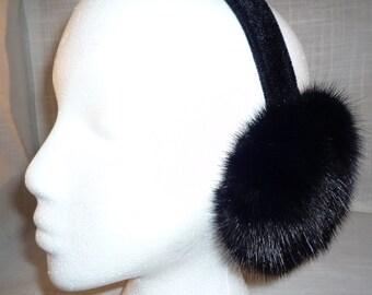 Black Mink Fur Earmuffs new made in usa new