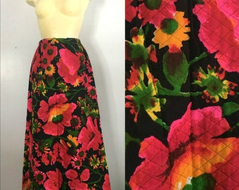 1960s Loomtogs Quilted Floral Maxi Skirt