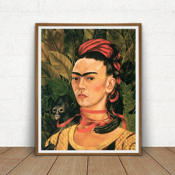 frida kahlo selbstbildnis mit affen druckbare frida kahlo. Black Bedroom Furniture Sets. Home Design Ideas