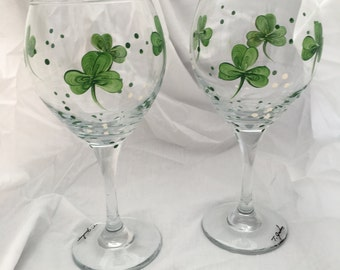 Lucky Shamrock/Irish Design Hand Painted Pair Wine Glasses - Signed by artist!