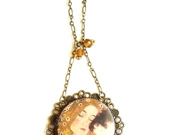 EXPECTING MOM GIFT, 1st Mother's Day, Gustav Klimt pendant, mother jewelry, Klimt art necklace, mother child jewelry, gift for new mom