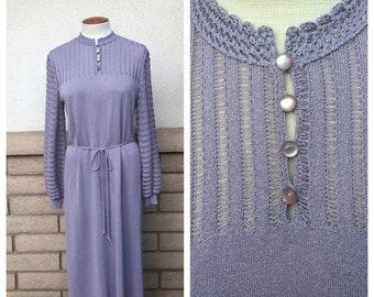 Vintage Lavender Lilac Knit Dress 80s Pointelle Midi Column Dress by Castleberry Size 16