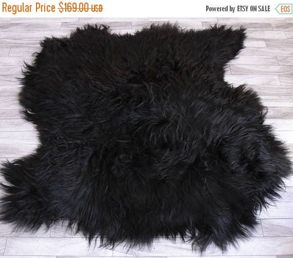 Sheepskin Rug Square: ON SALE Genuine Double Sheepskin Rug Black Sheepskin Rug