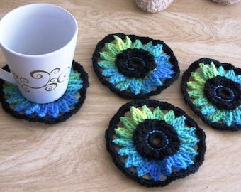 Black and Blue Coasters - Black and Blue Mug Mats - Flower Coasters - Black and Blue Flower Coasters - Flower Mug Mats - Set of 4