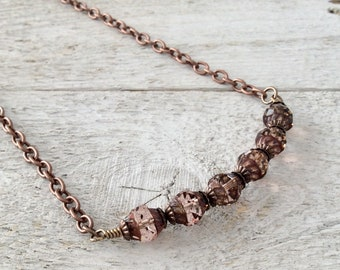 "Pink Czech Glass Necklace / One-of-a-Kind / Turbine Shaped Beads / Antique Copper / Copper Chain - 20"" long"