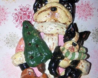 Folk Art Whimsical Boston Terrier Dog Santa Claus Cookie Doll Ornament Ooak Handmade