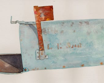 Outgoing watercolor by Kathy Johnson mailbox mail verdigris rusty blue