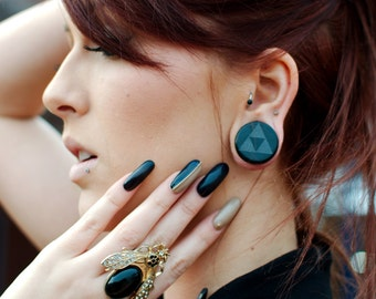 """Tri Force Black Glass Plugs in 2g (6.5mm) through 1 1/4"""" (32mm) including 0g 8 mm 00g 10mm 7/16"""" 11mm 9/16"""" 3/4"""" Triforce Ear Gauges"""