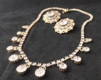 Vintage Weiss Pink Rhinestones Necklace and Earrings