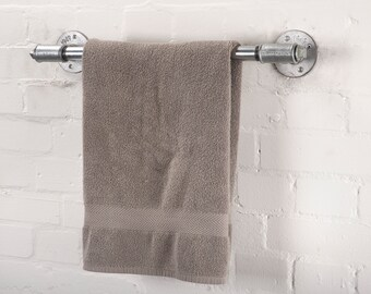 Hand / Bath Towel for Bathroom - Made from Industrial Pipe and Pipe Fittings - Tee Nut Version