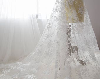 Off-White Lace Fabric with Floral Embroidery/Unique Bridal Lace Fabric/Prom Dress/Evening Dress/Lace Wedding Dress/Boho Wedding Dress/FL-69